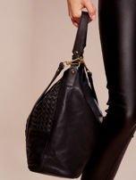 Czarna torba z motywem plecionki                                  zdj.                                  2