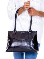 Czarna torebka damska ze skóry ekologicznej                                  zdj.                                  1