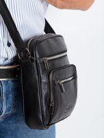Czarna torebka męska z naturalnej skóry                                  zdj.                                  5