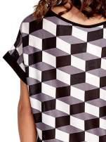 Czarna tunika w przestrzenne geometryczne wzory                                  zdj.                                  6