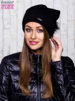 Czarna wełniana czapka z futrzanym pomponem                                                                           zdj.                                                                         1