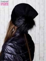 Czarna wełniana czapka z futrzanym pomponem                                   zdj.                                  3