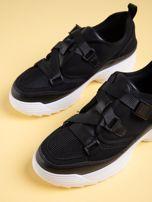 Czarne buty sportowe z wiązaniem i zapięciem na klips                                  zdj.                                  3