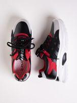 Czarne buty sportowe ze skórzanymi czerwonymi wstawkami                                   zdj.                                  1