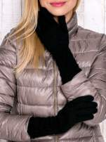 Czarne długie rękawiczki z drapowanym rękawem