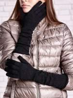 Czarne długie rękawiczki ze srebrną nicią                                  zdj.                                  1