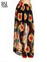 Czarne kwiatowe zwiewne spodnie culottes                                                                          zdj.                                                                         1