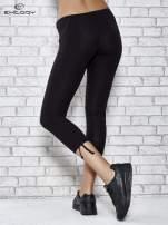 Czarne legginsy sportowe 7/8 z wiązaniem                                  zdj.                                  3