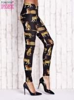 Czarne legginsy w gepardy                                  zdj.                                  3