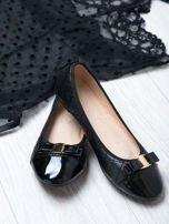 Czarne pikowane baleriny quilted leather z kokardką i lustrzanym przodem                                  zdj.                                  1