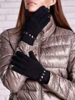 Czarne proste rękawiczki z ćwiekami                                                                          zdj.                                                                         1