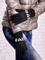 Czarne rękawiczki z napisem BAD na pięć palców                                  zdj.                                  3