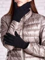 Czarne rękawiczki ze srebrną nicią z wywijanym mankietem                                  zdj.                                  1