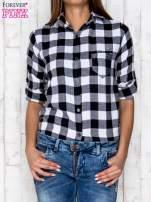 Czarno-biała koszula w kratę z kieszonką                                  zdj.                                  5