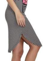 Czarno-biała sukienka w paski z napisem I DON'T THINK ABOUT IT!