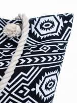 Czarno-biała torba plażowa w azteckie wzory                                  zdj.                                  8