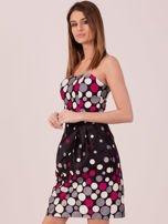 Czarno-fuksjowa sukienka koktajlowa w kolorowe grochy                                  zdj.                                  2