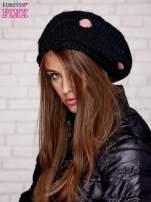 Czarno-różowa czapka w grochy                                  zdj.                                  3