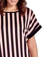 Czarno-różowa tunika w pionowe pasy                                  zdj.                                  6