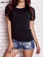 Czarny asymetryczny t-shirt z zapięciem na plecach FUNK N SOUL                                  zdj.                                  1