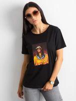 Czarny bawełniany damski t-shirt                                  zdj.                                  1