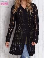 Czarny długi sweter na guziki                                  zdj.                                  1