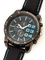 Czarny duży zegarek męski na silikonowym wygodnym pasku z błękitnymi wstawkami                                  zdj.                                  2