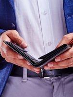 Czarny elegancki portfel dla mężczyzny z łączonych materiałów                                  zdj.                                  3