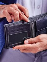 Czarny portfel męski skórzany z łączonych materiałów                                  zdj.                                  3
