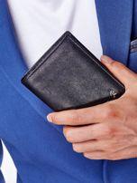 Czarny portfel męski z przeszyciem                                  zdj.                                  3