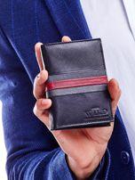 Czarny portfel skórzany z czerwoną wstawką                                  zdj.                                  5