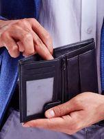 Czarny portfel ze skóry naturalnej w paski                                  zdj.                                  3
