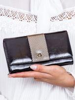 Czarny skórzany portfel z ozdobną wstawką                                  zdj.                                  1