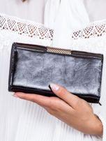 Czarny skórzany portfel z ozdobną wstawką                                  zdj.                                  3