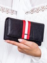 Czarny skórzany portfel ze wstawką w paski                                  zdj.                                  1
