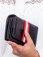 Czarny skórzany portfel ze wstawką w paski                                  zdj.                                  2