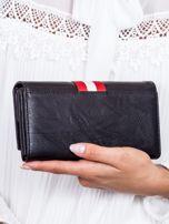 Czarny skórzany portfel ze wstawką w paski                                  zdj.                                  3