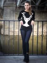 Czarny sweter z jelonkiem i efektem destroyed                                  zdj.                                  11