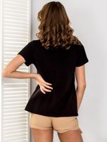 Czarny t-shirt V-neck                                  zdj.                                  2