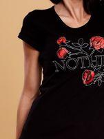 Czarny t-shirt damski NOTHING                                  zdj.                                  5