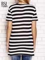 Czarny t-shirt w paski                                                                          zdj.                                                                         4