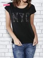 Czarny t-shirt z aplikacją NYC z cekinów                                  zdj.                                  1