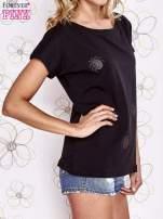 Czarny t-shirt z aplikacją owadów                                  zdj.                                  3