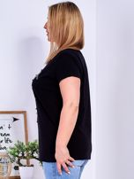 Czarny t-shirt z błyszczącymi gwiazdami PLUS SIZE                                  zdj.                                  5