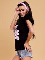 Czarny t-shirt z kolorowym kwiatowym nadrukiem                                  zdj.                                  3
