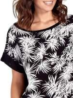 Czarny t-shirt z nadrukiem w palmy                                  zdj.                                  5