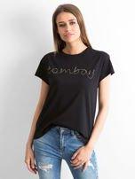 Czarny t-shirt  z napisem z koralików                                   zdj.                                  1
