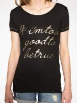 Czarny t-shirt ze złotym hasztagiem                                  zdj.                                  7
