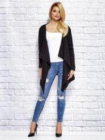 Czarny wełniany sweter z luźnymi połami                                  zdj.                                  4