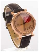 Czarny zegarek damski na skórzanej bransolecie                                  zdj.                                  3